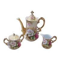 Vintage Lefton Heritage Brown (Floral) Hand-Painted China Coffee Set, Including Coffee Pot, Sugar Dish, and Creamer