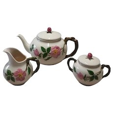 Mid Century Franciscan Desert Rose Hand-Painted California Pottery Tea Set (With Teapot, Sugar Dish, & Creamer), Made by Gladding McBean