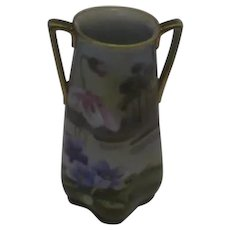 Vintage Japanese Nippon Hand-Painted Two-Handled Vase, Marked by Morimura Brothers and Made Between 1911 and 1922