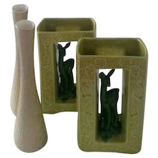 Four 1950s Shawnee Pottery Pieces, Pair of Mottled Gold Bud Vases and Pair of Two-Toned Green Deer Planters/Vases