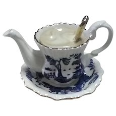 Vintage Paul Cardew Designed (Under License by Royal Doulton) Real Old Willow Earthenware Teapot, in Shape of Tea Cup, Saucer, and Spoon
