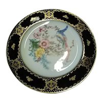 Vintage 1926 Rosenthal (Selb, Bavaria) Porcelain Plate, With Cobalt Blue Trim, Heavy Gold Gilding, & Hand-Painted Pheasant and Flowers