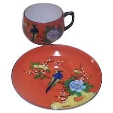 Vintage Chikaramachi (Early Noritake) Hand Painted Porcelain Tea Cup and Saucer Set, With Birds & Flowers, Made in Japan