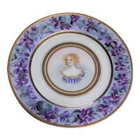 Antique Haviland and Company (Limoges, France) Porcelain Plate, With Hand-Painted Portrait and Flowered Border