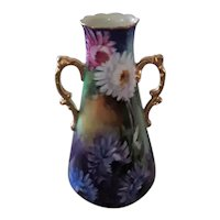 Tall Jean Pouyat Limoges (JPL) Porcelain Vase, With Double Handles and Hand Painted Chrysanthemums and Fruit, Made Between 1890 and 1932