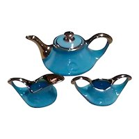 Mid Century Pearl China Co Ceramic Tea Set (Teapot, Creamer & Sugar Dish), With 22k Gold Trims and (Hard to Find) Almost No Gold Paint Loss