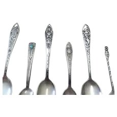 Six Vintage Sterling Silver Collectible (Souvenir) Spoons