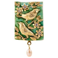 Sterling silver and hot enamel Necklace with cultured pearl