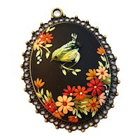 Colorful Necklace, handmade jewelry, flowers and bird pendant