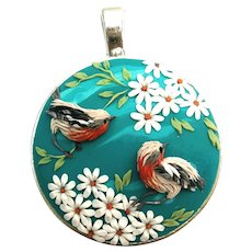 Colorful Necklace, handmade jewelry, flowers and birds pendant