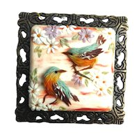 Handmade brooch birds&flowers