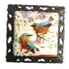 Handmade brooch birds&flowers