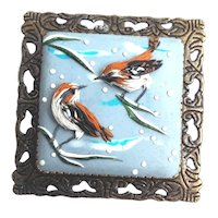 Birds in winter, Polymer Clay brooch