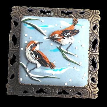 Birds in winter, Polymer Clay brooch