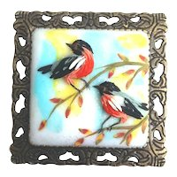 Birds. Polymer Clay brooch
