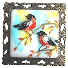 Birds. Polymer Clay brooch