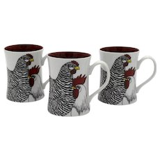 3 Fitz and Floyd Coq du Village Rooster & Hen 1979 Mugs
