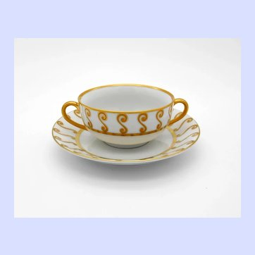 Marc Blackwell Something About Morocco Gold Cream Soup Bowl & Saucer Set