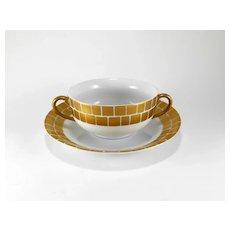 Marc Blackwell Bright Parisian Gold Palazzo Cream Soup Bowl & Saucer Set