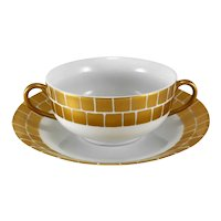 Marc Blackwell Bright Parisian Gold Palazzo Cream Soup Bowl & Saucer Set
