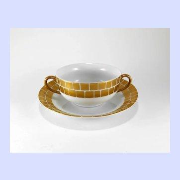 March Blackwell Bright Parisian Gold Palazzo Cream Soup Bowl & Saucer Set