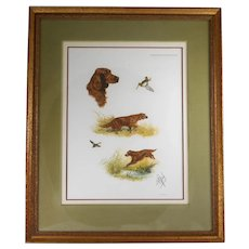 Borris Riab Signed Irish Setter Framed Lithograph