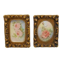 Antique Signed Hand Painted Porcelain Plaques With Gilt Chalkware Frames