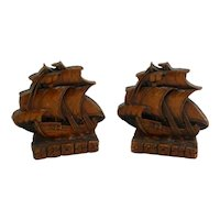 Vintage Oma Wood Galleon Bookends