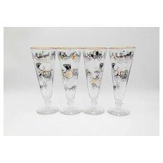 4 Libbey Old Carriages Pilsner Glasses