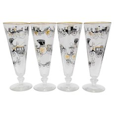 4 Libbey Old Carriages Pilsner Glasses