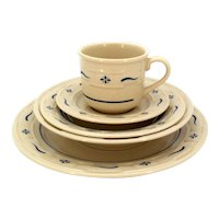 Longaberger 5 Pc Setting Woven Traditions Blue