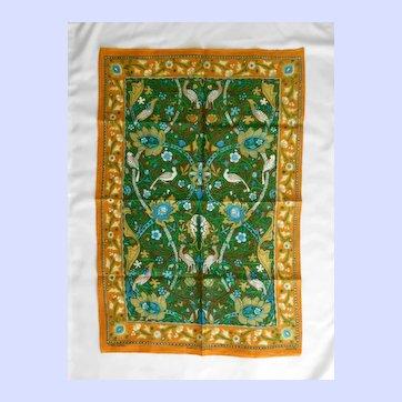 Vintage Irish Linen Tea Towel Magic Carpet Design by Jonelle