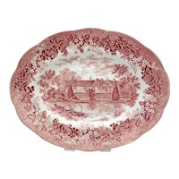 J & G Meakin Romantic England Red Oval Serving Platter