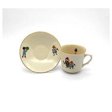 Vintage Monopoli Porcellena d'italia Child's Cup and Saucer Set