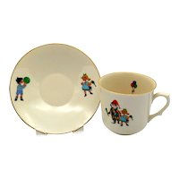 Vintage Monopoli Porcellena d'italia Child's Cup and Saucer Set