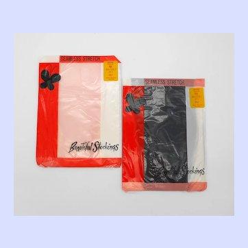 Seamless Stretch Nylon Stockings Pink & Navy 9-9½-10