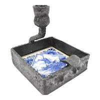 Vintage Hand Crafted Delft Blue Windmill Tile Pewter Chamberstick