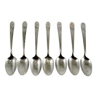 7 Wm Rogers Silverplated Presidential Spoons