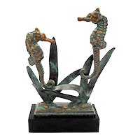 Andrea by Sadek Verdigris Brass Seahorses on Marble Base