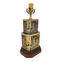 English Tea Tin Chinoiserie Lamp