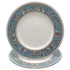 2 Wedgwood Florentine Turquoise Dinner Plates White Center-Green Mark