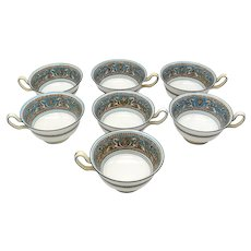 7 Wedgwood Florentine Turquoise Cups White Center Green Mark