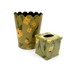 Colonial Williamsburg Floral Wastebasket & Tissue Box Cover