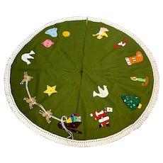 Mid-Century Felt Christmas Tree Skirt with Embellishments