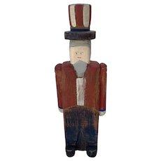 Wolf Creek Hand Carved Patriotic Uncle Sam Wood Figurine