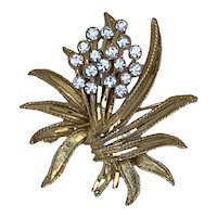 Gold Tone BSK Brooch with Rhinestones