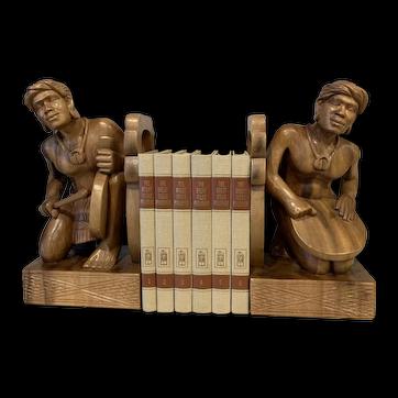 Mid-century Modern Wood Bookends Gangsa Musicians Tribal Busts
