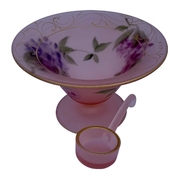 Hand Painted Pink Satin Mayonnaise Bowl with Matching Glass Scoop