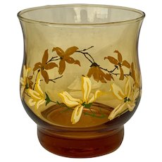 Mid-century Modern Hand Painted Amber Votive Candle Holder with Yellow Flowers