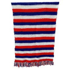 Patriotic Handmade Red White and Blue Afghan